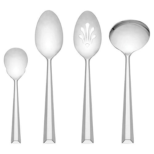 S/4 Library Lane Smooth Hostess Set, Silver