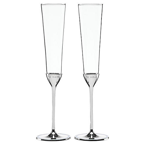 S/2 Take the Cake Champagne Flutes, Clear/Silver