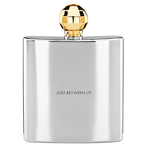 Two-of-a-Kind Just Between Us Flask, Silver/Gold