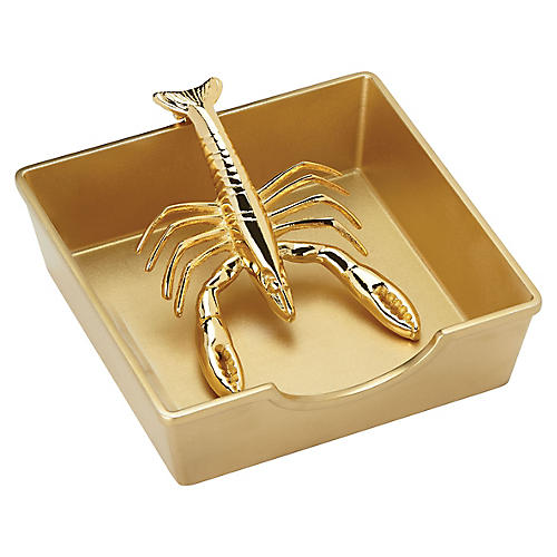 S/2 Two-of-a-Kind Lobster Napkin Holder, Gold