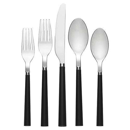 20-Pc All in Good Taste Place Setting, Black