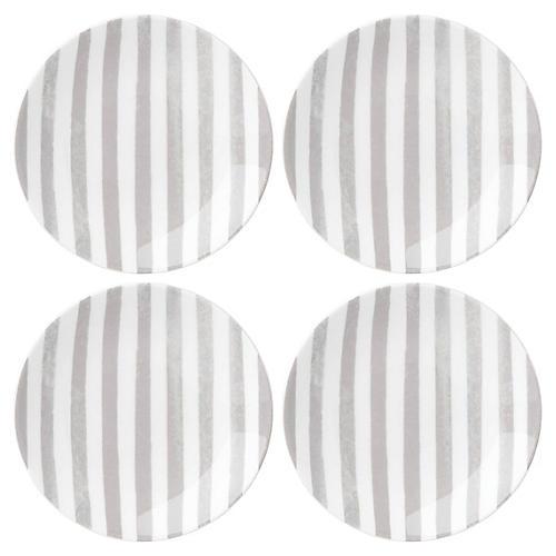 S/4 Charlotte Street Serving Plates, White/Gray