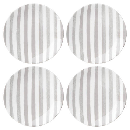 S/4 Charlotte Street Serving Plates, White/Gray