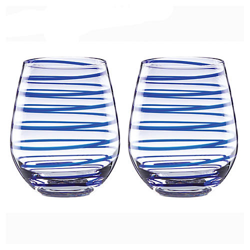 S/2 Charlotte Street Stemless Wineglasses, Blue