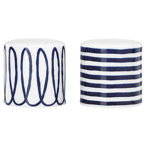 S/2 Charlotte Street S & P Shakers, White/Blue
