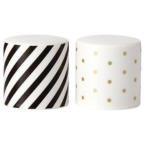 S/2 Fairmount Park Dot S & P Shakers, White/Multi