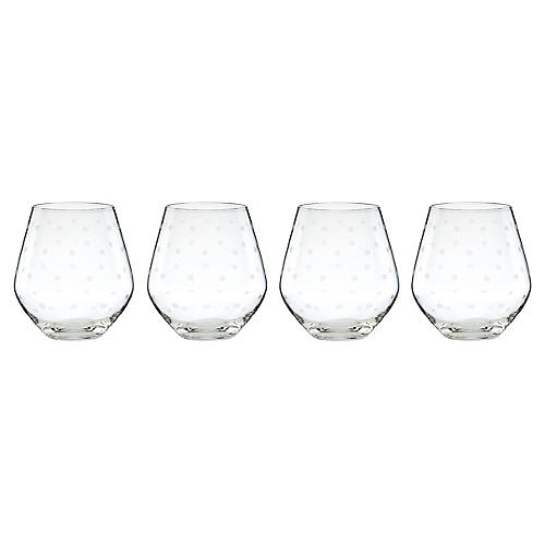 S/4 Larabee Dot Red-Wine Glasses, Clear