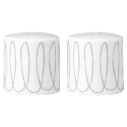 S/2 Charlotte Street S & P Shakers, White/Gray