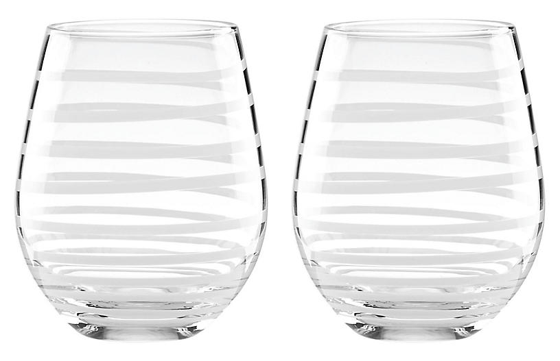 S/2 Charlotte Street Stemless Wineglasses, Clear
