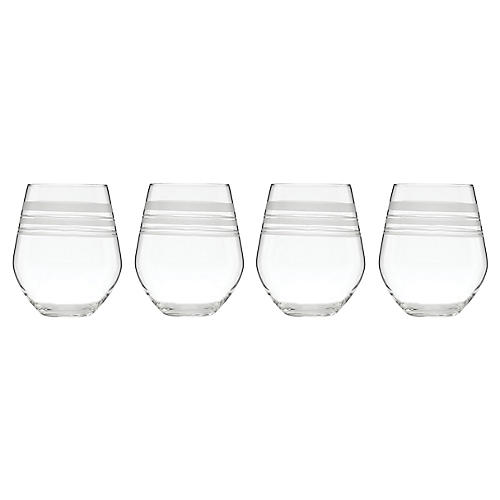 S/4 Library Stripe White-Wine Glasses, Clear