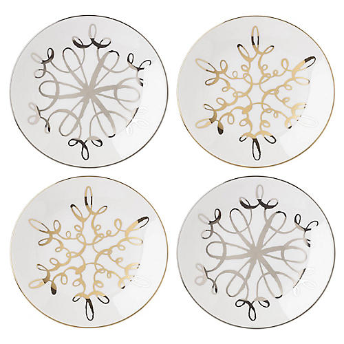 S/4 Jingle All the Way Plates, White/Multi