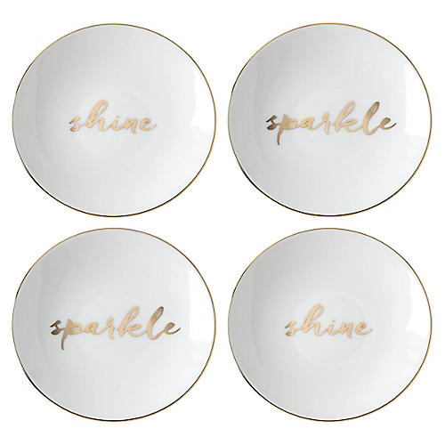 S/4 Oh What Fun Plates, White/Multi