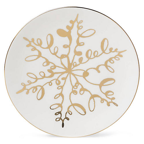 Jingle All the Way Accent Plate, White/Gold