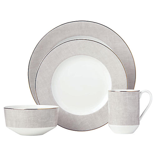 Savannah Street Place Setting, Beige/White