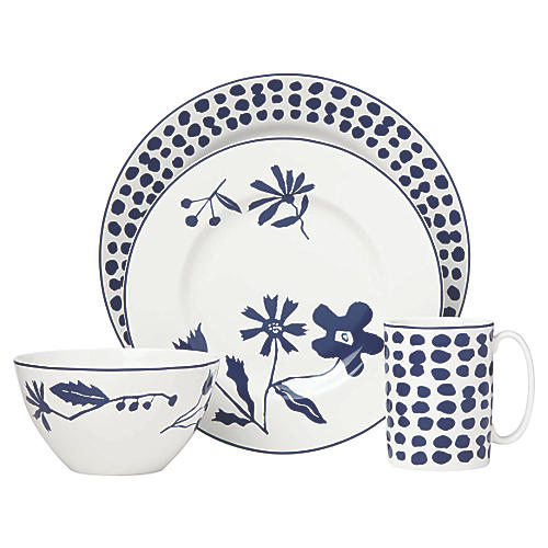 Spring Street Place Setting, White/Navy