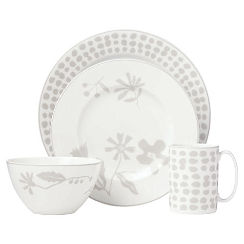 Spring Street Place Setting, White/Gray