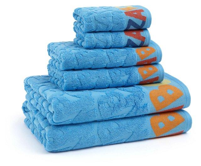 6-Pc ABC Towel Set, Cool Blue