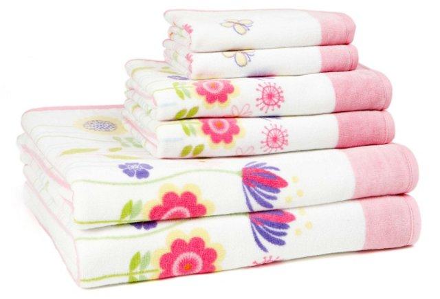6-Pc Garden Party Towel Set, White