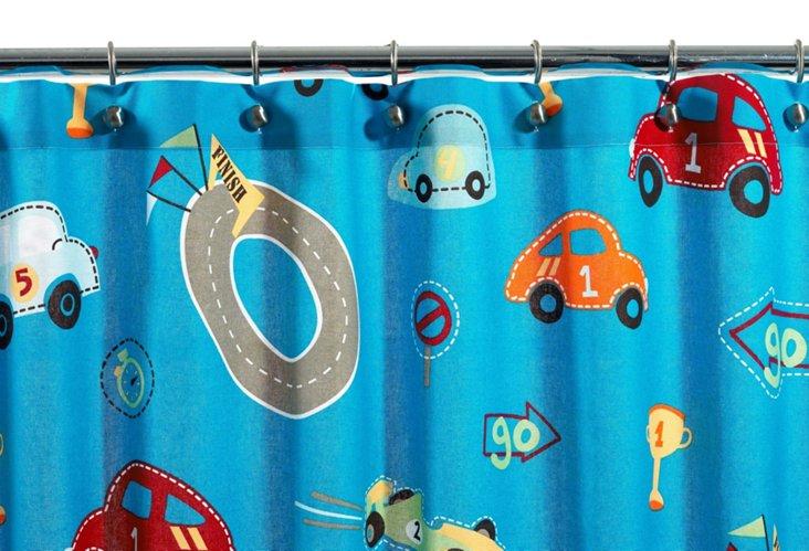 Racetrack Shower Curtain, Blue