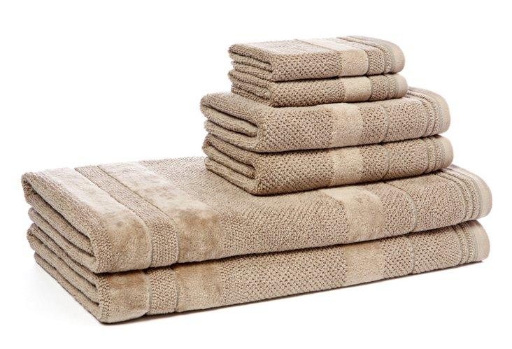 6-Pc Textures Towel Set,  Taupe