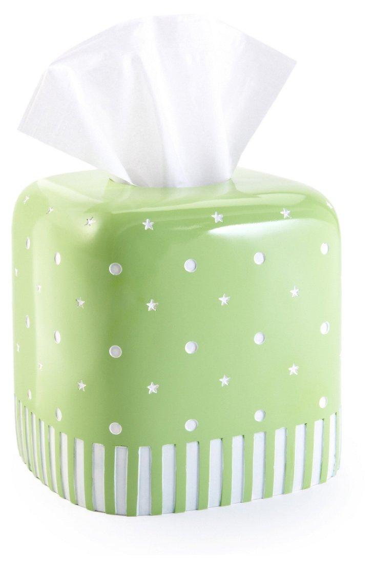 Stars & Dots Tissue Holder, Mint