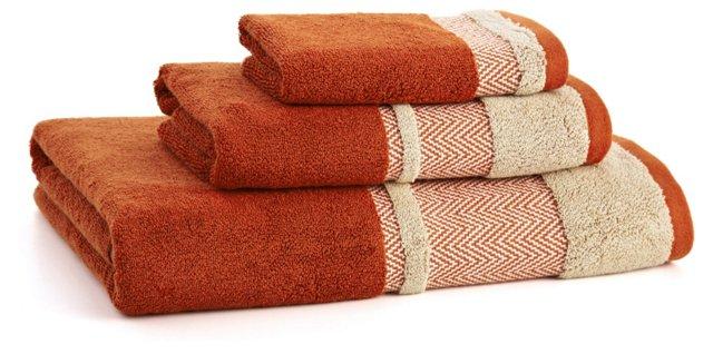 3-Pc Savile Towel Set, Terracotta