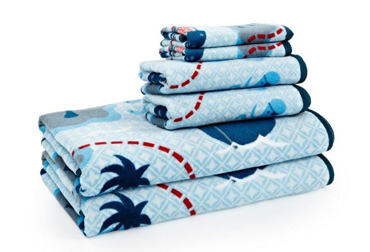 6-Pc Printed Pirates Towel Set