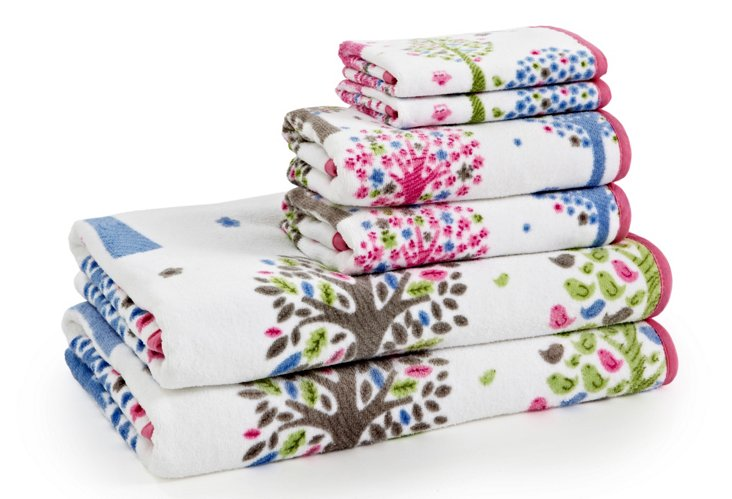 6-Pc Printed Merry Meadow Towel Set