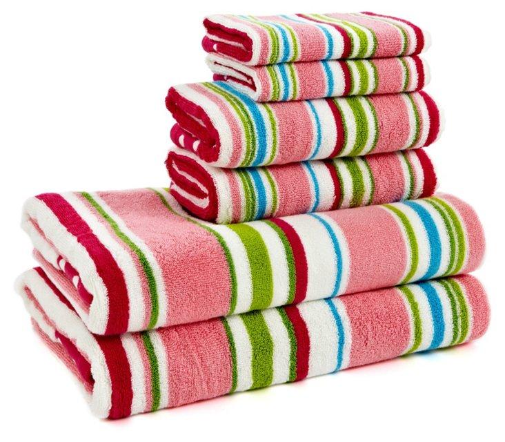 6-Pc Stripe and Polka Dot Towel Set, Pk