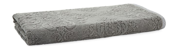 Damask Bath Towel, Tile Gray