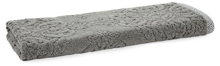 S/2 Damask Hand Towels, Tile Gray