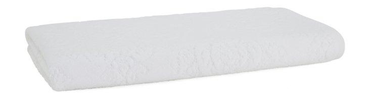 Damask Bath Towel, White