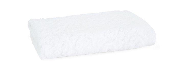S/4 Damask  Washcloths, White