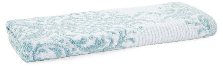 S/2 Damask Stripe Hand Towels, Blue Gl