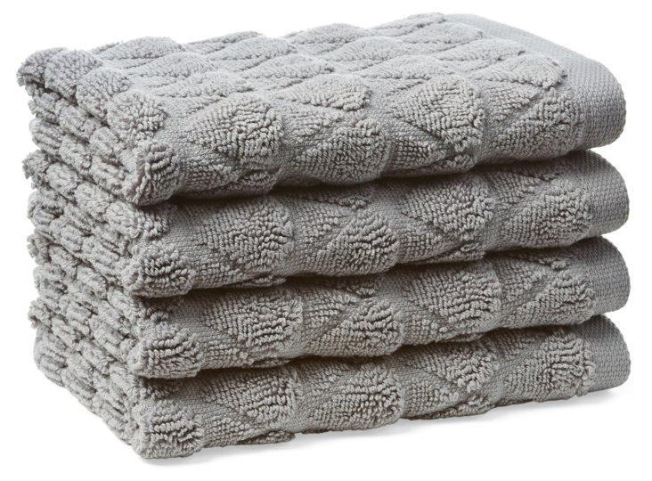 S/4 Bristol Washcloths, Anthracite