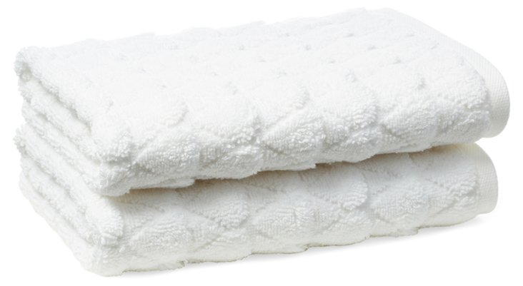 S/2 Bristol Hand Towels, White