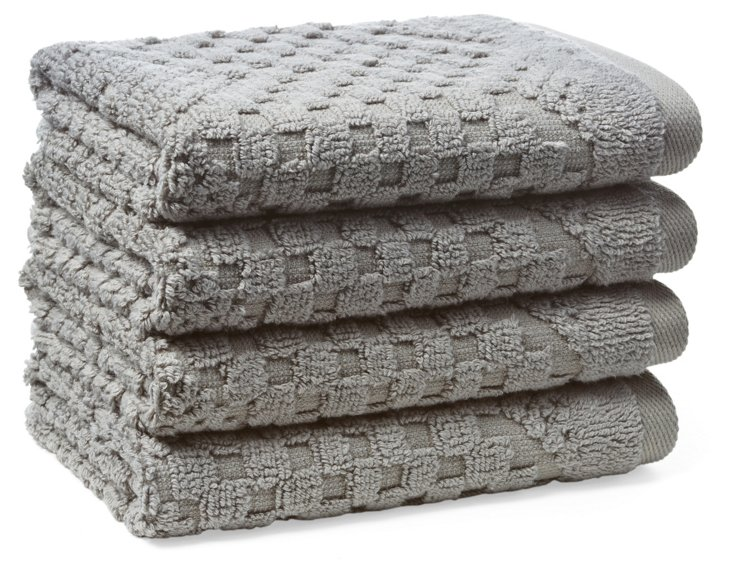 S/4 Chateau Washcloths, Sterling Gray