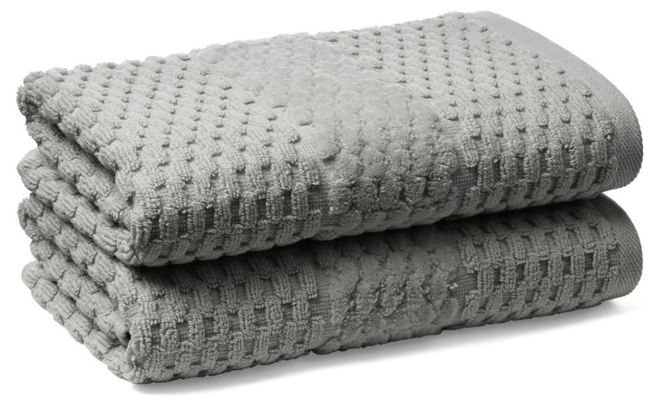 S/2 San Marco Hand Towels, Oxford Gray