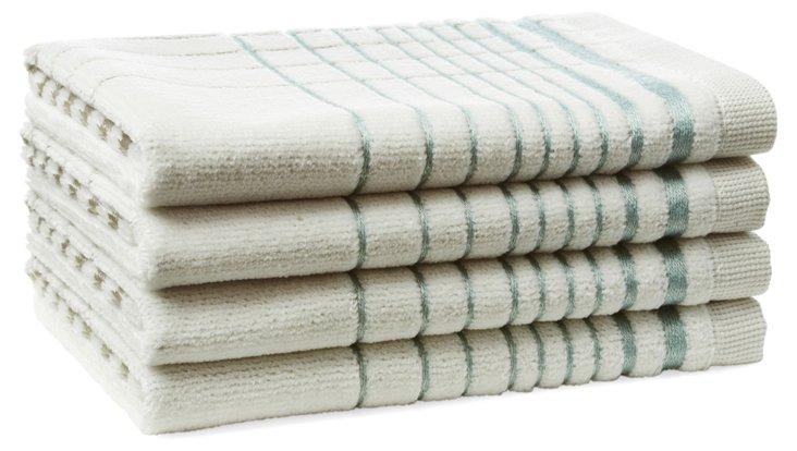 S/4 Crosby Washcloths,  Surf Blue