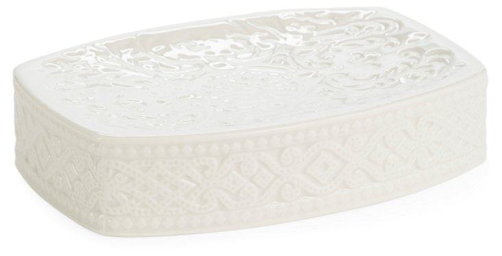 Trump Bedminster Damask Soap Dish, White
