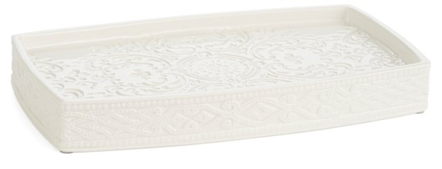 Trump Bedminster Damask Tray, White