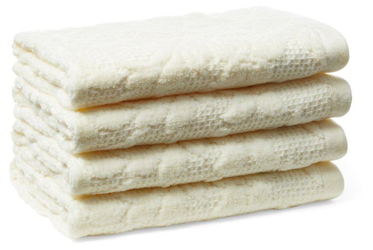 S/4 Parisian Washcloths, Pearl