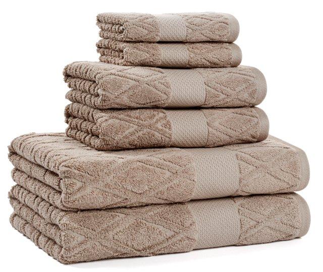6-Pc Dakota Collection Towel Set,  Taupe