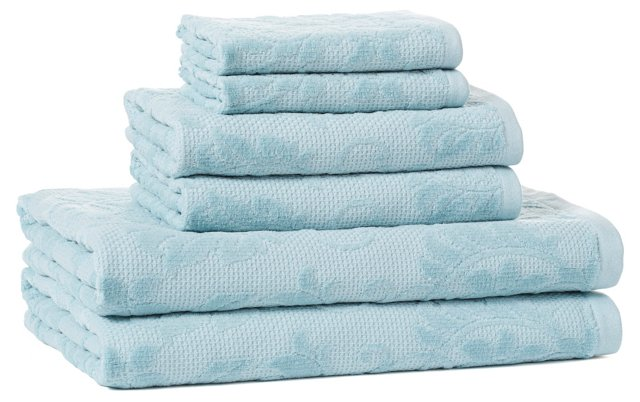 6-Pc Parisian Towel Set, Blue