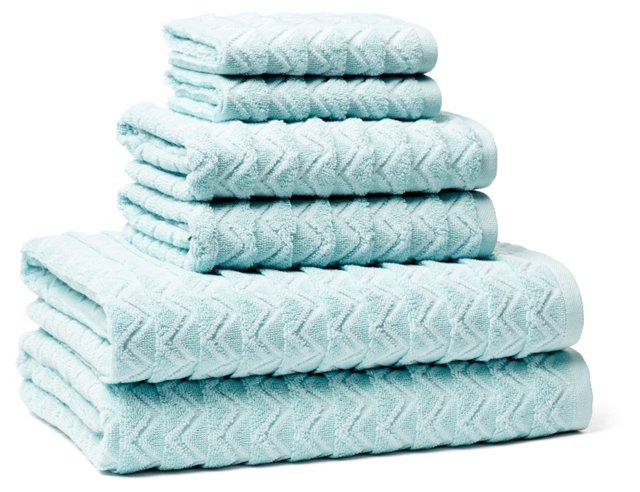 6-Pc Portofino Towel Set, Waterfall Blue