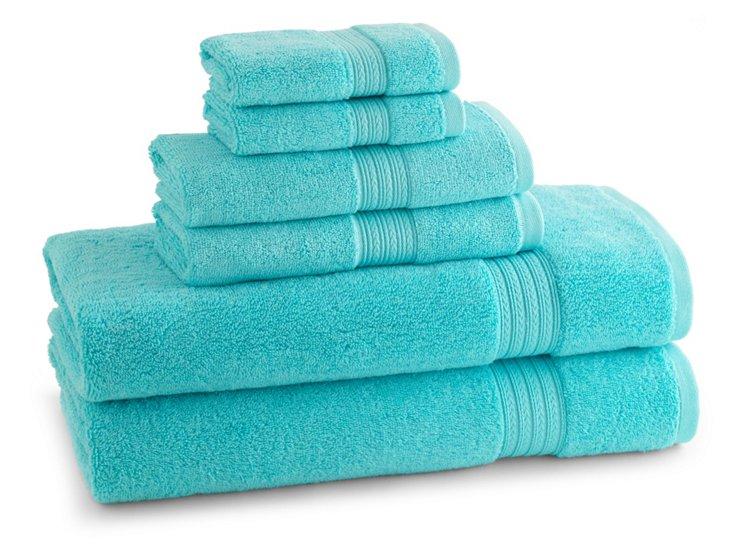 S/6 Egyptian Towel Set, Caribbean Blue