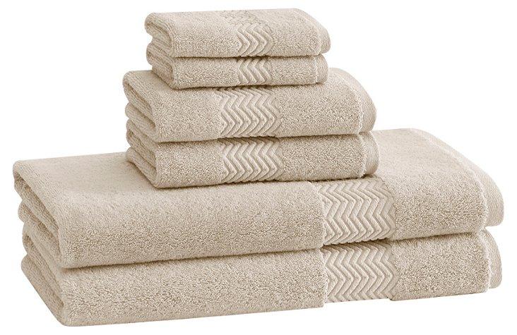 S/6 Chenille Towels, Latte