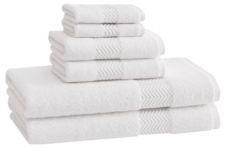 S/6 Chenille Towels, White