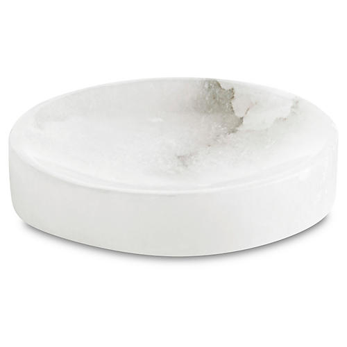 Alabaster Soap Dish, White