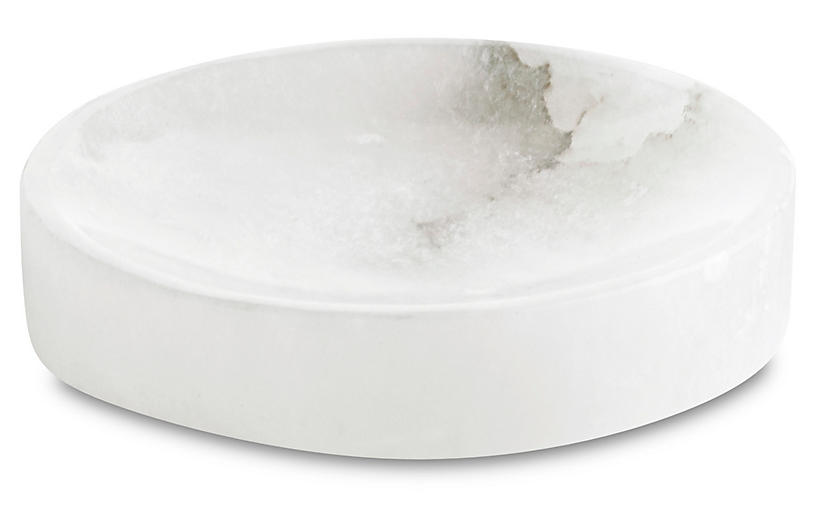 Alabaster Soap Dish, White